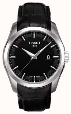 Tissot Mens Coutourier Black Dial Black Leather Strap Date T0354101605100