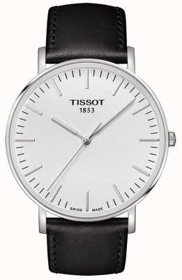 Tissot Mens Everytime Large White Dial Black Leather Strap T1096101603100