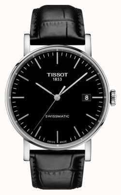 Tissot Mens Everytime Swissmatic Black Dial Black Leather Strap T1094071605100