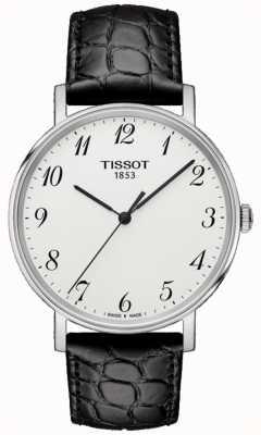 Tissot Mens Everytime medium Black Leather Silver Dial T1094101603200