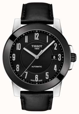 Tissot Mens Gentleman Swissmatic Black Leather Strap T0984072605200