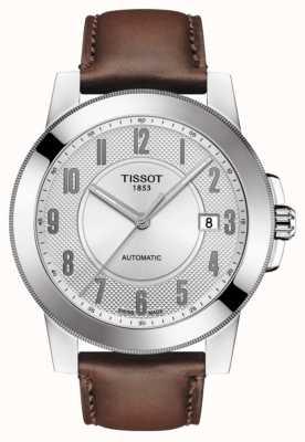 Tissot Mens gentleman Swissmatic Brown Leather Strap T0984071603200