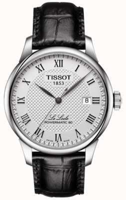 Tissot Mens Le Locle Powermatic 80 Silver Dial Black Leather Strap T0064071603300