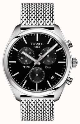 Tissot Mens PR100 Chronograph Black Dial Stainless Steel Bracelet T1014171105101