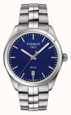 Tissot Mens PR100 Stainless Steel Bracelet Blue Dial T1014101104100