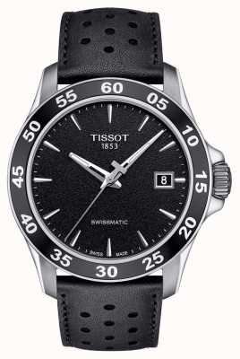 Tissot Mens V8 Swissmatic Black Dial Black Leather Strap T1064071605100
