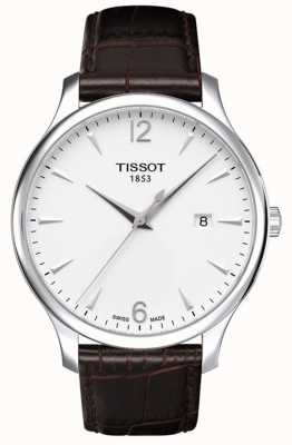 Tissot Mens Tradition Brown Leather Strap Silver Dial T0636101603700