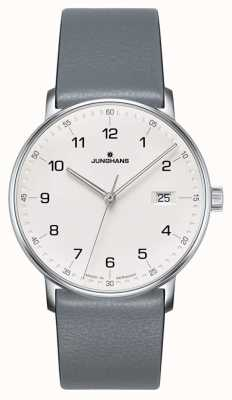 Junghans FORM Quartz grey calfskin strap watch 041/4885.00