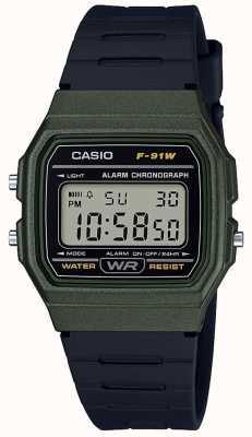 Casio Alarm Chronograph Green & Black Case F-91WM-3AEF