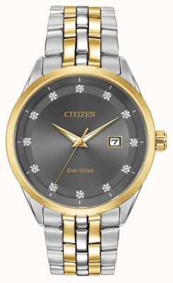 Citizen Corso Men's Diamond Set Grey Dial Two Tone Bracelet BM7258-54H
