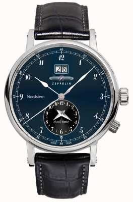 Zeppelin Nordstern Dual Time Big Date Blue Dial Black Leather Strap 7540-3