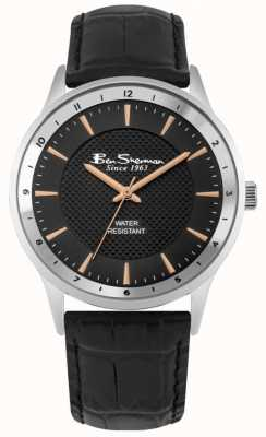Ben Sherman Black Leather Strap black and rose gold Sunray Dial BS148