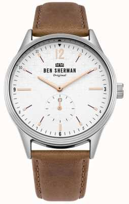 Ben Sherman Matte White Dial And Tan Leather Strap WB015T