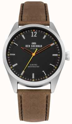 Ben Sherman Brushed Black Dial And Tan Leather Strap WB019BT