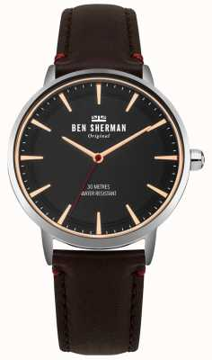 Ben Sherman Matte Black Dial And Brown Leather Strap WB020BR
