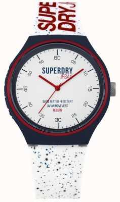 Superdry Urban XL Blue Fleck White Silicone Strap SYG227W