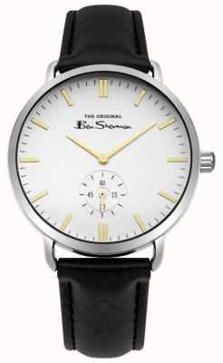 Ben Sherman White Dial Gold Markers Seconds Sub Dial Black Leather Strap BS009WB