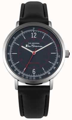 Ben Sherman Blue Dial Tachymeter Black Leather Strap BS006UB