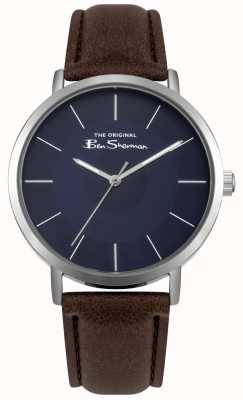 Ben Sherman Blue Dial Stainless Steel Case Brown Leather Strap BS014UBR