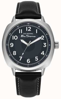 Ben Sherman Blue Dial Stainless Steel Case Black Leather Strap BS003UB