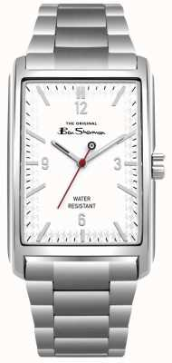 Ben Sherman White Rectangle Dial Stainless Steel Case & Bracelet BS013WSM