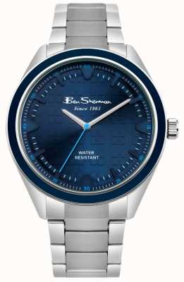 Ben Sherman Blue Patterned Dial Stainless Steel Case & Bracelet BS005USM