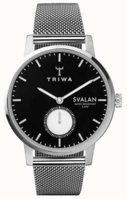 Triwa Ebony Svalan Black Dial Stainless Steel Mesh Bracelet SVST103-MS121212