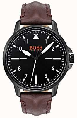 Hugo Boss Orange Black Dial Dark Brown Leather Strap Black IP Coated Case 1550062