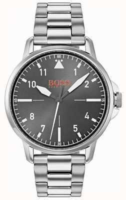 Hugo Boss Orange Black Dial Silver Stainless Steel Bracelet 1550064