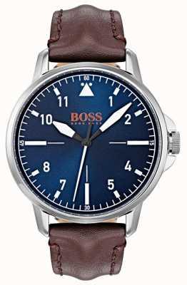 Hugo Boss Orange Blue Dial White Markers Dark Brown Genuine Leather Strap 1550060