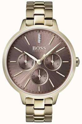 Boss Ladies Symphony Lilac Dial Day & Date Sub Dial Gold Case 1502422