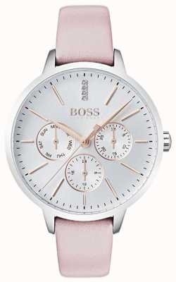 Hugo Boss Silver Dial Day & Date Sub Dial Crystal Set Pink Leather 1502419
