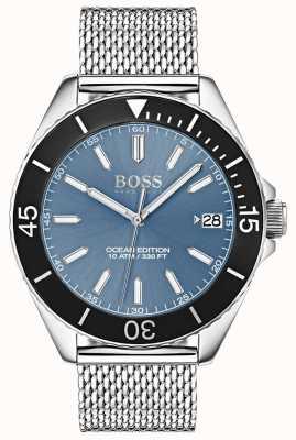 Hugo Boss Light Blue Dial Black Bezel Ocean Edition Mesh Strap 1513561