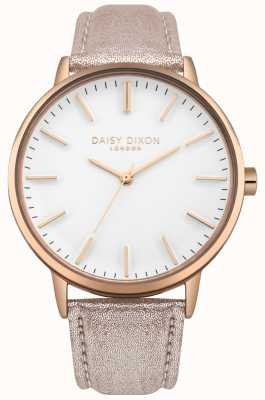 Daisy Dixon Ladies Harper White Dial Rose Gold Case Pink Leather Strap DD061CRG