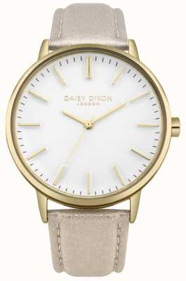 Daisy Dixon Ladies Harper White Dial Gold Case Pink Leather Strap DD061GG