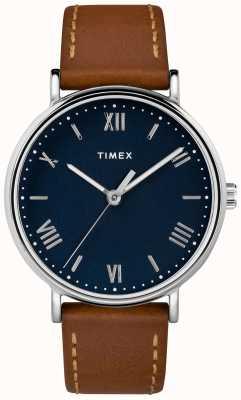 Timex Mens Southview 41mm Tan Leather Strap Blue Dial TW2R63900D7PF