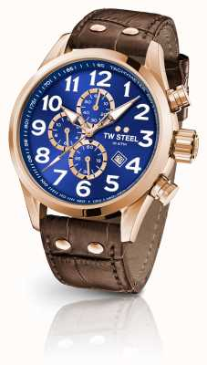 TW Steel Volante 45mm Chronograph Brown Leather Strap Blue Dial VS83