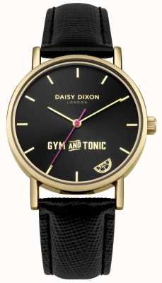 Daisy Dixon Womens Gym & Tonic Blaire Black Leather Strap Black Dial DD079BG