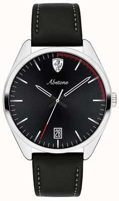 Scuderia Ferrari Mens Abetone Black Leather Strap Watch Black Dial 0830501
