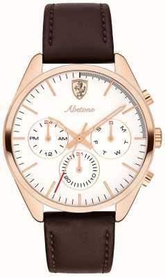 Scuderia Ferrari Mens Abetone Brown Leather Strap Watch White Dial 0830504