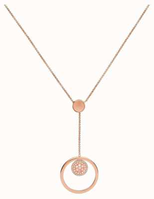 Fossil Womens Vintage Glitz Rose Gold Tone Drop Necklace JF02907791