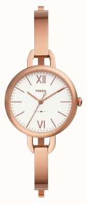 Fossil Womens Annette Rose Gold Tone Bangle Watch ES4391