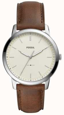 Fossil Mens The Minimalist Brown Leather Strap Watch FS5439