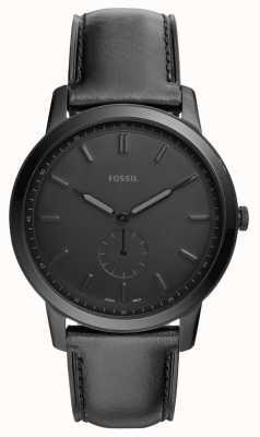 Fossil Mens The Minimalist Black Leather Strap Watch FS5447