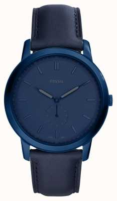 Fossil Mens The Minimalist Blue Leather Strap Watch FS5448