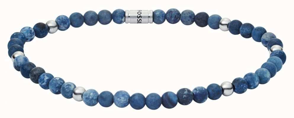 Fossil Mens Vintage Casual Blue Bead Bracelet JF02835040