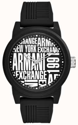 Armani Exchange Mens Atlc | Black silicone Strap | AX1443