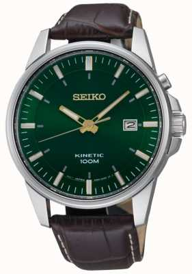 Seiko Men's Kinetic Green Dial Date Display Brown Leather Strap SKA753P1