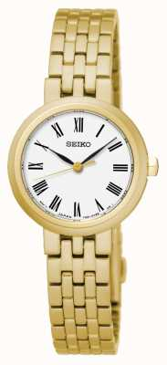 Seiko Men's Quartz White Dial Roman Numerals Yellow Gold Bracelet SRZ464P1