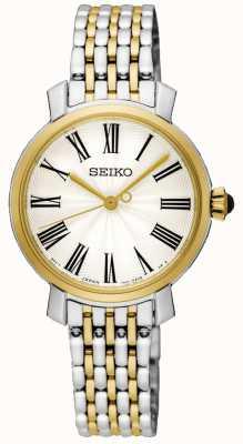 Seiko Gold Case Roman Numerals Two Tone Stainless Steel Bracelet SRZ496P1